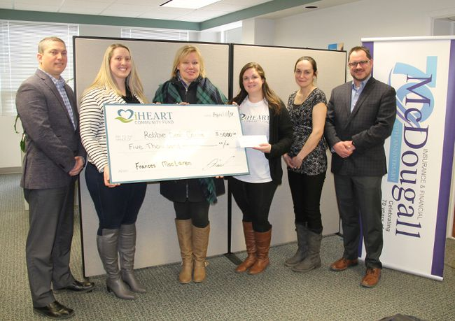 On April 11, the Robbie Dean Family Counselling Centre received $5,000 from the iHeart Community Fund. Pictured here (from left) are Shane Dennison and Frances MacLaren of McDougall Insurance, Robbie Dean director Monique Yashinskie, Diana Moore of iHeart, Robbie Dean board member Melissa Siegel and McDougall regional manager Kirk Shier.