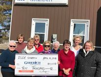 Members of the IODE present their donation to the Recreation Park Project: Front row (L-R) Nancy Hughes, Mary Ellen Jasper, Margo Morris, Peggy Cook, and Barbara Jones. Back row (L-R) Lynn Edward, Heather Ball, Merle Stanbury, and Deborah Rogers. (Contributed photo)