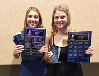 Maddie Shwaluk (left) and older sister Kiera (right) were both Winnipeg Women's High School Hockey League award winners Monday night as Maddie claimed Top Sportswoman and Kiera was named Top Defender. (submitted photo)