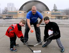 Greg Matthison, overseeing a faceoff here between Keaton Flick and Ashton Malacaria, is helping bring ball hockey back to Victoria Park this spring. (CHRIS MONTANINI\LONDONER)