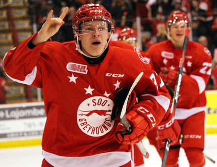 Sault Ste. Marie Greyhounds winger Ryan Roth celebrates his first-period goal, the Hounds' second, against the Owen Sound Attack during OHL playoff action Tuesday, April 17, 2018 at Essar Centre in Sault Ste. Marie, Ont. JEFFREY OUGLER/SAULT STAR/POSTMEDIA NETWORK