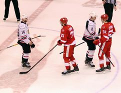 Owen Sound Attack captain Jacob Friend leads his team through the handshake line after the Sault Ste. Marie Greyhounds' 9-7 victory in Game 7 of the Western Conference semifinal. Greg Cowan/The Sun Times.