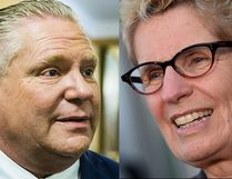 Doug Ford (left), leader of the PC Party of Ontario, drops by the PC Party offices in Queen's Park in Toronto on March 12, 2018. Ernest Doroszuk/Toronto Sun/Postmedia Network. Ontario Premier Kathleen Wynne (right) talks to media after appearing as a witness in the Election Act bribery trial in Sudbury Wednesday on Sept. 13, 2017. The Canadian Press/Sean Kilpatrick