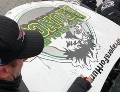 On Monday NASCAR driver DJ Kennington, from Southwold, announced he would auction off the hood of his car commemorating victims of a collision in northern Saskatchewan involving the the Humboldt Broncos hockey team. Bidding closed Wednesday afternoon. (Submitted photo)