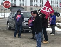 Canadian Union of Public Employees stood outside the North Bay Regional Health Centre Wednesday during a province-wide rally demanding respect at the bargaining table. CUPE is asking for a modest wage increase and no concessions. Talks broke off in September and are rescheduled for this weekend.