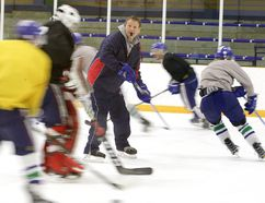 Rayside-Balfour Canadians coach Steve Lauzon runs players through drills at a recent practice. Gino Donato/The Sudbury Star/Postmedia Network