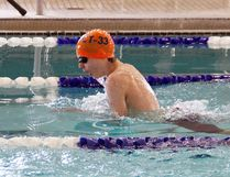Noah Papatheodorou, 14, of the CT33 Thunderbirds, swimming the breast stroke at the Titans Invitiational at the North Bay YMCA on the weekend. Stephen Tanner Photo