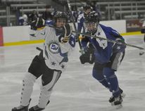 Gordon Anderson/Daily Herald Tribune Jayden Watson (left) in action during the Alberta Major Bantam Hockey League All-Star game action at the Coca-Cola Centre in January. Watson and four of his teammates will head to Spruce Grove next week for the Alberta Cup.