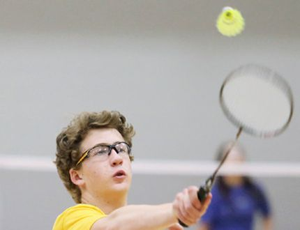 Thomas Myers of the Pain Court Patriotes hits a return during the mixed doubles final at the LKSSAA junior badminton championship at St. Clair College's Thames Campus HealthPlex in Chatham, Ont., on Thursday, April 19, 2018. Myers and Olivia Hunter beat Ursuline's Patrick O'Brien and Alisha Ellis 21-17, 21-17 in the final. (MARK MALONE/Chatham Daily News/Postmedia Network)