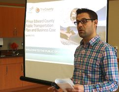 BRUCE BELL/THE INTELLIGENCER Prince Edward County's director of community development, Neil Carbone explains plans for an expanded integrated transit system in the municipality at one of two open houses held on Thursday.
