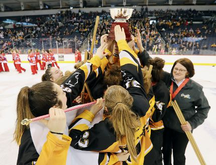 Team Manitoba celebrates after defeating Calgary Surge 3-1 to claim the gold medal in the U16 category at the 2018 Save on Foods Canadian Ringette Championships at Bell MTS Place on April 14.