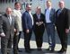 Greater Sudbury Major Brian Bigger, left, Todd Tripp, Greater Sudbury Airport CEO, second from left, Sudbury Liberal MPP and Energy Minister Glenn Thibeauolt, third from left, Lise Poratto- Mason, chairwoman of the Sudbury Airport Community Development Corporation, third from right, Vince Pollesel, vice-chairman of the SACDC, second from right, and Paul Moreira, Porter Airlines' senior vice-president and chief operating officer, stand in front of Porter Airlines plane set to take off Friday at the Greater Sudbury Airport. (Harold Carmichael/Sudbury Star)