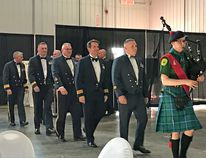 Portage piper Leyton Bennet leading the head table into the RCAF Gala held in Hanger 1 at Southport Saturday night. (Aaron Wilgosh/The Graphic)
