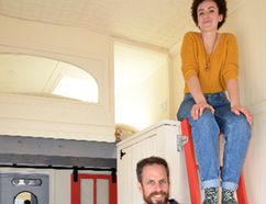 Collin Young and his 19-year-old daughter Zoe inside Zoe's tiny house, which the pair towed to the weekend Eco-Fair in Meaford. DENIS LANGLOIS/THE SUN TIMES