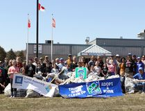 Volunteers pose in front of the garbage collected during the Friends of the Thames Thames River Clean Up in Ingersoll, Ont. on Sunday April 22, 2018. Greg Colgan/Woodstock Sentinel-Review/Postmedia Network