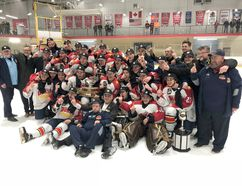 BRUCE BELL/THE INTELLIGENCER The Wellington Dukes pose with the Buckland Cup after a thrilling 4-3 overtime win against Georgetown in overtime at Essroc Arena on Sunday night to take the OJHL final in six games. The club now heads to Dryden for the Dudley Hewitt Cup May 1 – 5. They will open against the host Dryden Ice Dogs on Day 1 at 7:30 p.m. They are joined by the SIJHL champion Thunder Bay North Stars, while the Cochrane Crunch led the Rayside Balfour Canadians 3-2 heading into Game 6 of the Northern Ontario Junior Hockey League final on Tuesday night.
