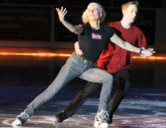 The 2018 Saugeen Shores Battle of the Blades saw figure skaters and hockey players take to the ice to help entertain a Plex crowd of over 1,200 and raise money for a good cause on April 20, 2018. Pictured: Local police officer Rose Witteveen and her partner Jared Kerr showed off their skills during the competition. (Troy Patterson/Kincardine News and Lucknow Sentinel)