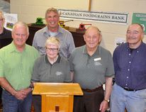 On hand for the spring information meeting for the Thamesview/Main Street United Church growing project last Thursday, April 26 – the 35th anniversary of the Canadian Foodgrains Bank – were John Longhurst (back row, left), director of resource and public engagement; and David Epp, regional representative. Front row (left): Bob Harris, Nancy Kraemer, Ron Kraemer and Bob Hutson, all of the local growing project. ANDY BADER/MITCHELL ADVOCATE