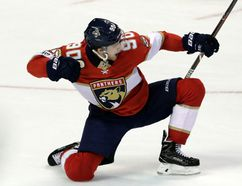 Florida Panthers' Jared McCann, of Stratford, celebrates after scoring the winning goal during the third period of an NHL hockey game against the Boston Bruins, Thursday, April 5, 2018, in Sunrise, Fla. (AP Photo/Lynne Sladky)