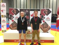 Samantha Thorson and Austin Sundquist both won medals in Greco-Roman wrestling at the recent nationals in Edmonton. Photo supplied