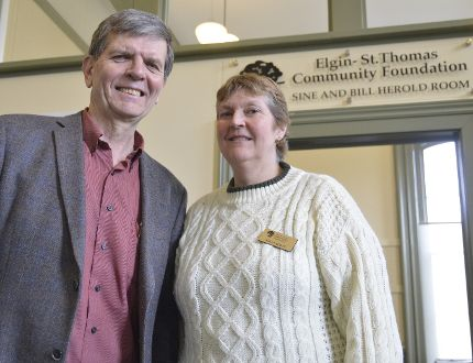 Terry Carroll, executive director of the Elgin-St. Thomas Community Foundation, and Kelly Scott, foundation assistant, stand beside the foundation office inside the CASO Station. On Monday the non-profit organization announced they will be in charge of a bequest made by Marianne Barrie valued at $1.6 million, the largest in foundation history. (Louis Pin/Times-Journal)