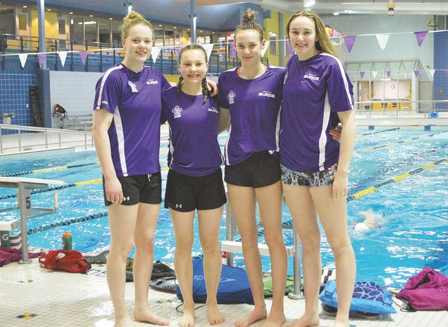 Sault Surge swimmers, from left to right, are Paige Banton, Aliah Robertson, Logan Belanger and Olivia Starzomski. Allana Plaunt/Special to Sault This Week