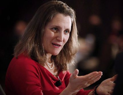 Minister of Foreign Affairs Chrystia Freeland. JOHN WOODS/THE CANADIAN PRESS