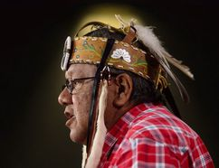 Deputy grand chief Glen Hare of the Anishinabek Nation speaks as representatives for First Nations and environmental groups hold a press conference on Parliament Hill in Ottawa on Monday, April 23, 2018., asking International Atomic Energy Agency to investigate radioactive waste management in Canada. SEAN KILPATRICK / THE CANADIAN PRESS