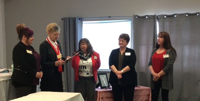 The installation of officers for the James Bay Region Executive was held with  Kim Charron (left to right) of Cochrane as the new James Bay Region chair, Dorothy Friske of Geraldton the President of Hospital Auxiliaries Assoc. of Ont., Ann Rudd-Robins of Timmins as 1st Vice President, Karen Barbar of Kirkland Lake as Secretary, Heather Lamy of Kirkland Lake as Treasurer.