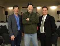 Scott Cyr (right), MLA for Bonnyville – Cold Lake, said the NDP likely invested more dollars into rural crime prevention because he and other Conservative MLAs were encouraging residents to write letters detailing their firsthand experiences of being victimized by crime. Cyr is seen in this photo with Reeve Greg Sawchuk (left) and Cold Lake resident Tim Cramb at the city's policing open house on Mar. 29.