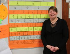Miami School math teacher Wanda Stockford was recently named this year's recipient of the prestigious Murray McPherson Award from the Manitoba Association of Mathematics Teachers. She will officially receive her award at the group's award ceremony in May. She is pictured here in her classroom in Miami. (EMILY DISTEFANO)