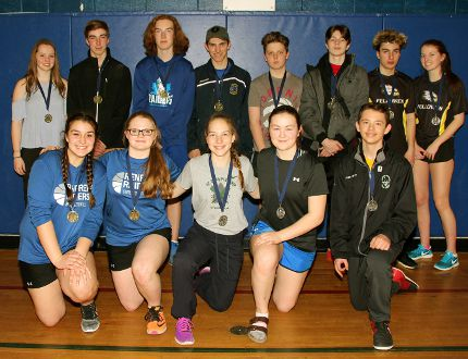 Tina Peplinskie/Daily Observer: The top finishers in the competitive division doubles at the Grade 9 badminton tournament at Bishop Smith (back from left) are Avery Lorbetskie and William Egan, first mixed doubles, Opeongo; Jack Stewart and Alexander VanderPloeg, first boys doubles, Renfrew Collegiate Institute; Nick Price and Nikolas Majszki, boys doubles second, Bishop Smith; Myles Rowe and Cassidy McEvoy, mixed doubles second, Fellowes. In the front row (from left) are Olivia Smart and El Spooner, girls doubles first, RCI; Hannah Hubert and Malorey Lambert, girls doubles second, RCI and Ethan Austin and Allee Fudge (missing), recreational doubles second, Bishop Smith.