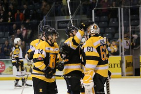 The Kingston Frontenacs celebrate a 5-2 win in Game 4 of the Ontario Hockey League Eastern Conference Final against the Hamilton Bulldogs at the K-Rock Centre on Tuesday night. (Meghan Balogh/The Whig-Standard)