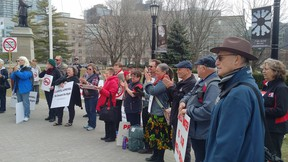 Members of OPAL were at Queen's Park Wednesday to protest proposed landfill in Oxford County. (Submitted photo)