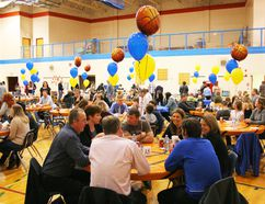 E.E. Oliver gym was decorated with the FHS Cobra colours for the Basketball Awards banquet