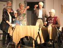 Lillian Abbott as Rose, Michaela Posthumus as Blanche, Andrea Feeley as Flora, Tony McQuail as Jack and Bill Cooper as Wilf in the upcoming Hawk Theatre production 'Jack of Diamonds' scheduled to begin on Thursday April 26, 2018 at the Lucknow Town Hall Theatre. (Ryan Berry/ Kincardine News and Lucknow Sentinel)