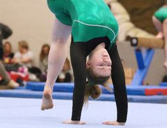 Hannah Castonguay of Lockerby Composite School runs through her routine at the OFSAA gymnastics competition at Ecole secondaire Macdonald-Cartier in Sudbury, Ont. on Tuesday April 24, 2018. Gino Donato/Sudbury Star/Postmedia Network