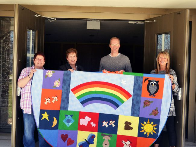 After voting overwhelmingly on Sunday to become an affirming congregation, parishioners at Avondale United Church in Stratford have officially opened their doors to welcome LGBTQ worshippers into the fold. Pictured from left are affirming team member Beth Gleadall, church council chair Ruth MacLennan, Avondale minister Rev. Keith Reynolds, and affirming team chair Debbi Parks. Galen Simmons/The Beacon Herald/Postmedia Network