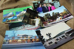 In her time as owner, Joan Longeway was very thorough about documenting the history of the Home Quarter. Her personal highlights included (clockwise from top left): appearing on a Cochrane postcard, the giant bakery oven that has since been removed, a Ralph Klein campaign stop, the old front facade before the wood was added, their elaborate Christmas display, and years of making the town's official Canada Day cake.