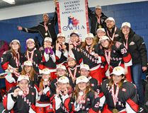 The atom Typhoons are provincial champions. In front, from left, are Brynn Macfarlane. Gabrielle Giroux, Makenna Bellsmith, Avery Whitton, Sam Duffy, Karonhiakwas (YAYA) Bova, Annabella Curtis, Keely Hunter and Desirae Berger. Second row are Ava Mcconnell, Nuala Wheeler, Corinne Gallagher, Curry Thompson, Anne Robinson, Chloe Castonguay, Kate Esford and Alexiane Denney. Third row are coaches Al Castonguay, John Robinson, Matt Bellsmith and Sheila McIntyre. Handout/Cornwall Standard-Freeholder