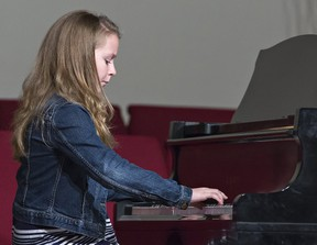 Ten-year-old pianist Hannah Koot competes Monday on the opening day of the Brant Music Festival. The festival continues through until Saturday. (Brian Thompson/The Expositor)