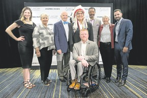Canada Sports Hall of Fame Class of 2018 include, left to right, cross-country skier Chandra Crawford, Maureen Baker, daughter of pioneering baseball player Mary Baker, former Toronto Maple Leafs player Dave Keon, Indigenous sport organizer and advocate Wilton Littlechild, wheelchair racer Jeff Adams, CFL legend Damon Allen, rower Dr. Sandra Kirby, and diver Alexandre Despatie in Toronto on Thursday, April 26, 2018. Photo supplied by Canada Sports Hall of Fame