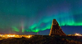 Northern lights fill the sky over monument hill in Fort Chipewyan, Alta. on September 13, 2013. Established in 1788, Fort Chipewyan is the oldest settlement in Alberta. Ryan Jackson/Postmedia Network