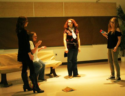 In the mini-play Bench Warrant, Jessica Weber (far right) and Reece Stensrud (far left) show the cruelty teens can be capable of, reducing Amanda Perkin's character (seated) to tears while Zoe Van Battum decides she has done enough and stays behind to befriend Perkins.