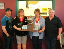 The Roy Stirling Memorial Trophy is presented each year to the person or persons who have done the most to contribute to the sport of Five-Pin Bowling in Fairview. This year, the trophy is shared between Lori Grinde and Chris Potrebenko for all the work they've done behind the scenes. Jordon Stirling (far left) and Dwayne Stirling presented the trophy.