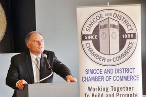 Norfolk Mayor Charlie Luke delivered 20 minutes of positive news during his annual state-of-the-county address in Renton Wednesday. Sponsor of the event is the Simcoe and District Chamber of Commerce. MONTE SONNENBERG / SIMCOE REFORMER