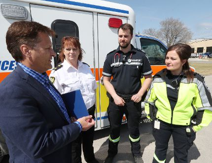 he province is providing funding for 60 new, full-time paramedic positions in Manitoba, which include 26 in the IERHA. An announcement was made in the RM of West St. Paul on April 30. (Brook Jones/Interlake Publishing/Postmedia Network)