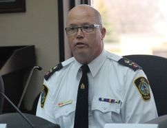 <p>Cornwall Community Police Service chief-designate Danny Aikman describes how the service sent a card and coffee cards to the RCMP officers who first responded to the Humbolt Broncos crash, on Wednesday May 2, 2018 in Cornwall, Ont. </p><p> Alan S. Hale/Cornwall Standard-Freeholder/Postmedia Network