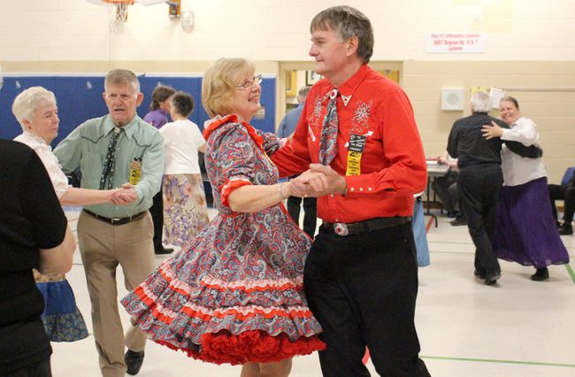 Huron Bruce Swingers danced the night away at Brookside Public School on Wednesday April 25, 2018 and held the annual pie night fundraiser event. Dancers from many different communities come together for a night of friendship and dancing every Wednesday evening from October to May through out the year. Pictured: Swing your partner round and round during the Huron Bruce Swingers annual pie night fundraiser at Brookside Public School on Wednesday April 25, 2018. (Ryan Berry/ Kincardine News and Lucknow Sentinel)