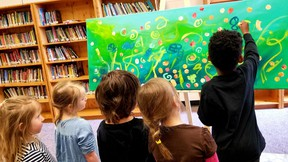 École Hepworth Central Public School Kindergarten students collaborated with others on a group painting at the school, April 18, for the school's 4th annual art show and auction.
